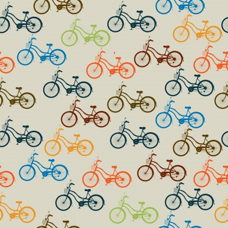 pedaling: Seamless pattern with retro style bicycles in colors.