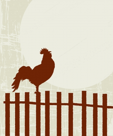 rooster and morning sun: Retro style illustration of a proud rooster on the fence