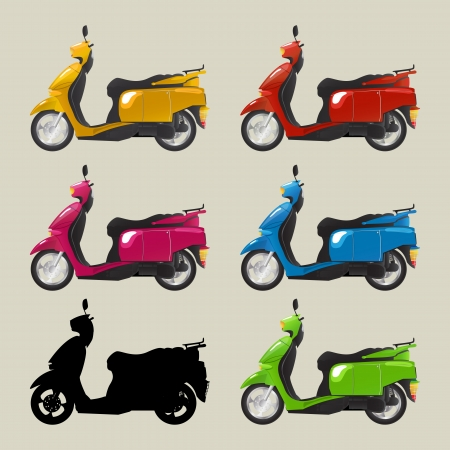 A collection of retro style imagery scooters in colors and silhouette