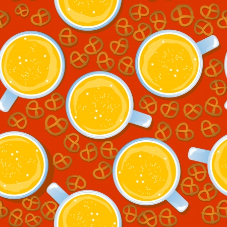 Seamless pattern for Oktoberfest german holiday with beer mugs and pretzels Stock Vector - 15903106