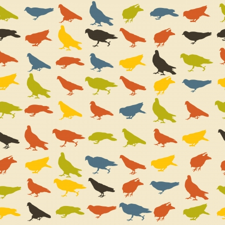 Seamless pattern with pigeons in retro tones Vector
