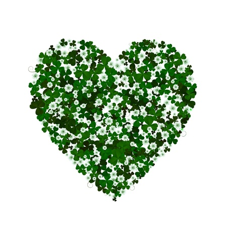 Clover leaves and flowers forming a heart, conceptual graphic for St  Patrick Vector