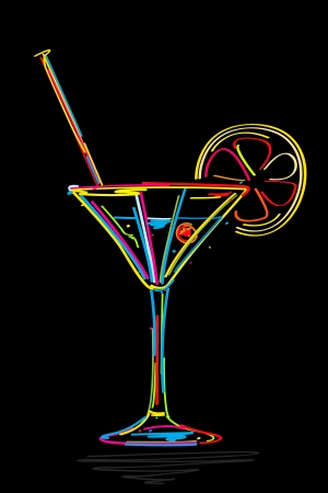 drinking straw: Stylized cocktail icon, isolated and grouped objects on black