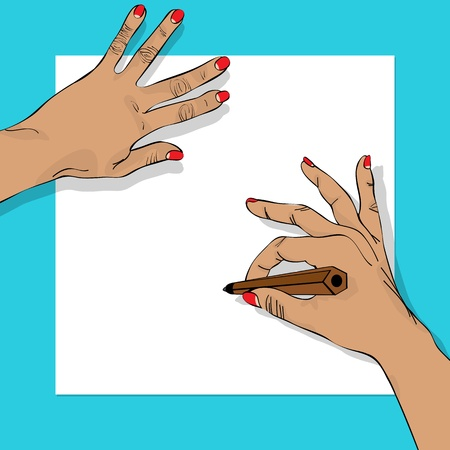 figuration: Drawing hands illustration, abstract art