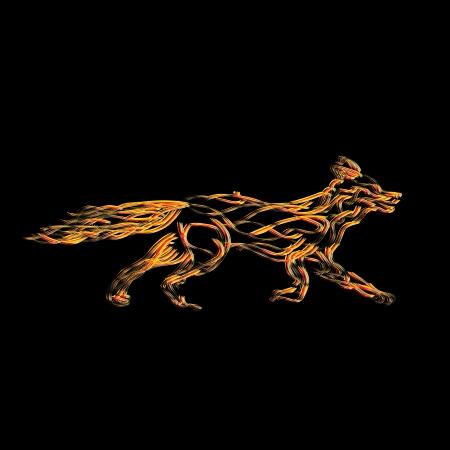 zorro: Ilustración conceptual de un zorro estilizado hecho de llamas Vectores