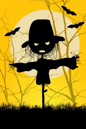 scarecrow: Ilustrated spooky halloween scarecrow and bats background
