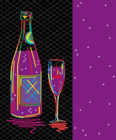 invitaci�n a fiesta: Tarjeta texto decorativo, invitaci�n del partido con botella de champagne y vidrio estilizado Vectores