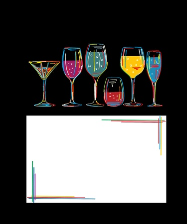 Background with set of colorful cocktail glasses and invitation card