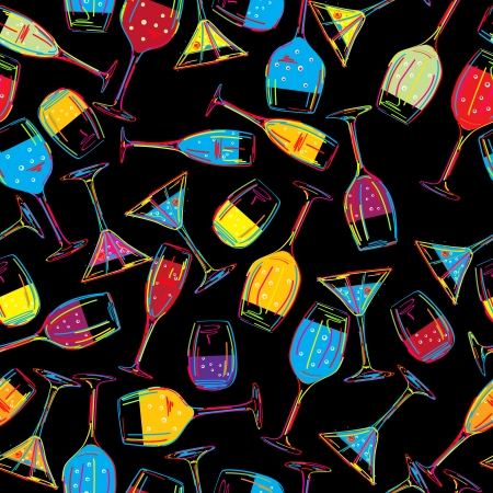 nightclub bar: Seamless background pattern with various drinks, cocktails  Abstract art