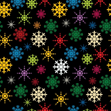 Winter holidays seamless pattern with colored snowflakes, abstract art Vector