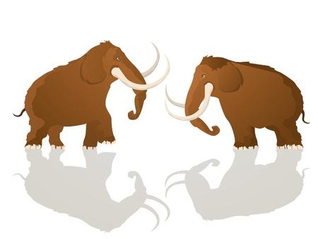 prehistoria: Dos toros de mamut de carga, arte de la historieta Vectores