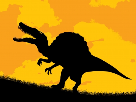 gnaw: Dinosaur silhouette over a cloudy sunset  Illustration