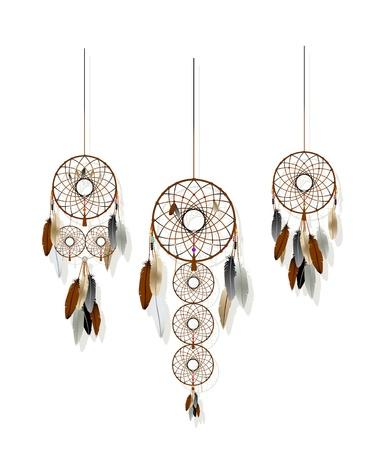 白い背景の上のネイティブ アメリカン インディアンのドリームカッチャー コレクション  イラスト・ベクター素材