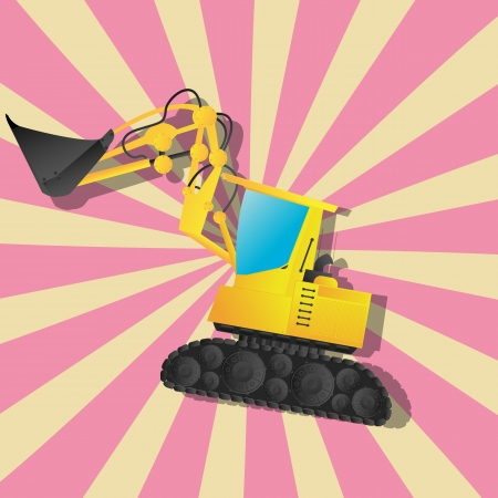 Retro art drawing of a excavator and shadow over a stripped background  Vector