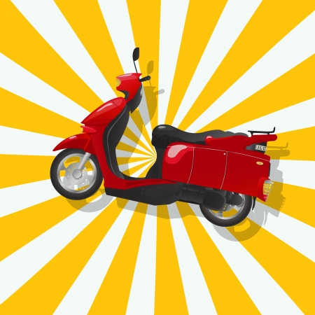 Retro art drawing of a shiny red scooter and shadow over a stripped background  Vector