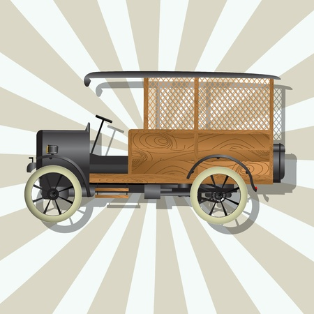 Retro art drawing of a vintage truck and shadow over a stripped background  Vector