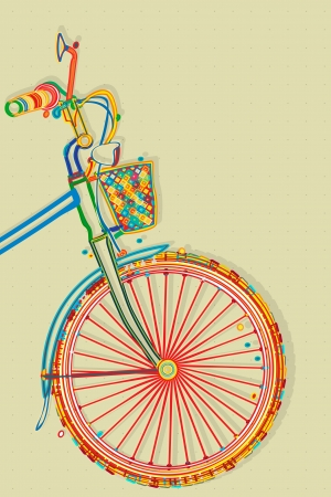 cycling silhouette: Bicycle card, retro style imagery illustration