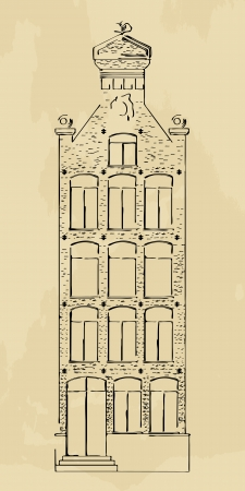gabled house: Stylized drawing of a Dutch style house, hand drawn sketch Illustration