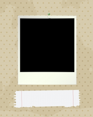 photoframe: Grunge style illustration with an empty photoframe and paper note  Illustration