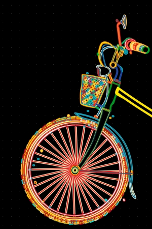 Stylish bicycle, retro style imagery illustration