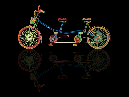tandem bicycle: Stylized tandem bicycle and reflection against black background