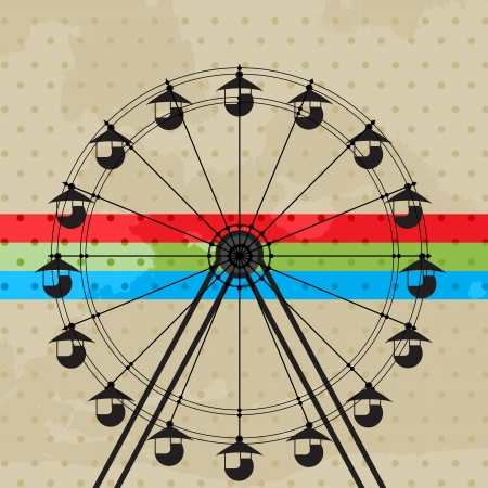game wheel: Amusement park icon, ferris wheel silhouette Illustration