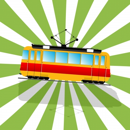 Retro art drawing of a imaginary Tramcar car and shadow over a stripped background