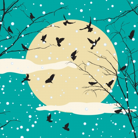 Birds and tree on moon set, romantic winter background Vector