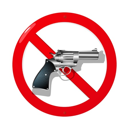 restrictions: Weapon restriction sign in 3D  Isolated and grouped objects over white background Illustration
