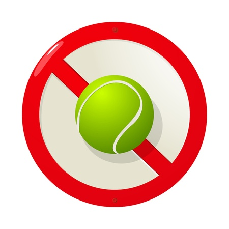 tennisball: Road sign graphic with a tennis ball over white Illustration