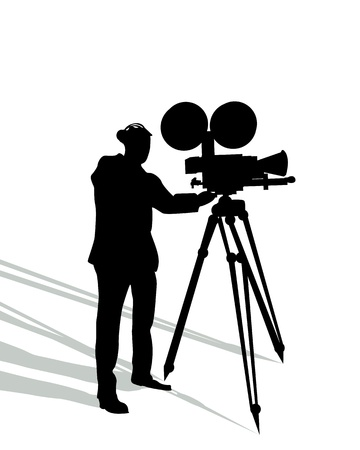 Camera man and shadow silhouette over white background Stock Vector - 16188065