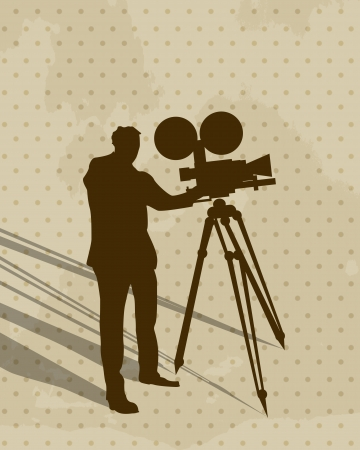Silhouette of a man filming and shadow, conceptual vintage art Stock Vector - 16188074