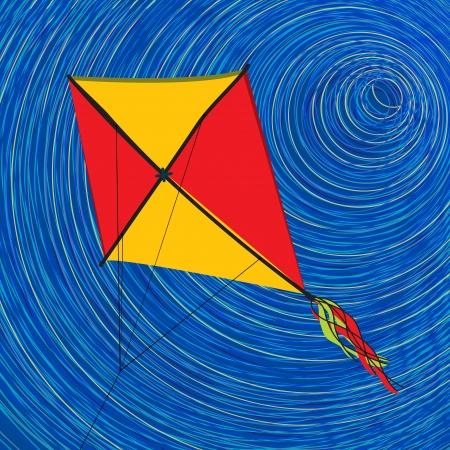 paper kite: Graphic kite, abstract art illustration