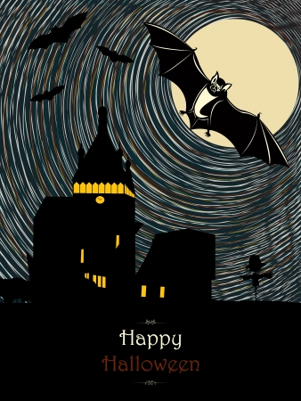 vampire bats: Spooky halloween illustration with vampire bats flying from a castle silhouette in the moonlight