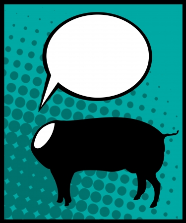 Conceptual comic style graphic of a headless pig and speech bubble Vector