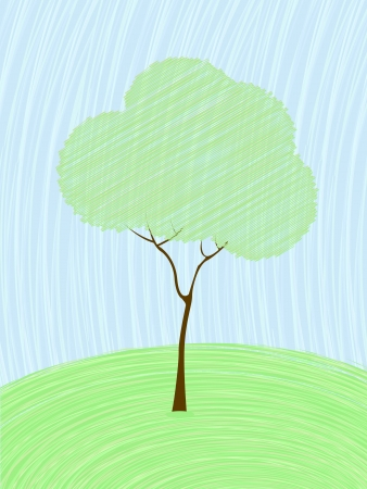 Background card with a stylized tree in pastel colors  Vector