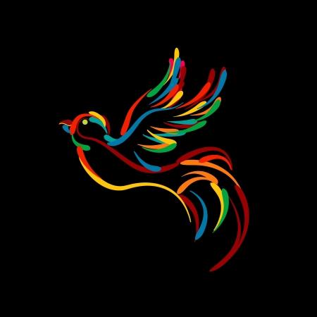 pigeons: Stylis� oiseau volant ic�ne, objets isol�s sur fond noir