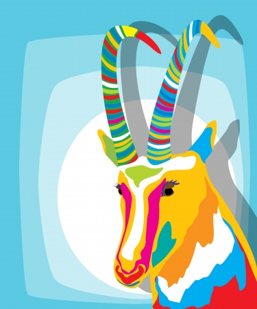 smiling goat: Clip art icon of a colored goat