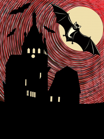 Halloween night with bats in the moonlight  Conceptual illustration  Vector