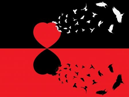 break in: Abstract love card with breaking heart eaten by pigeons