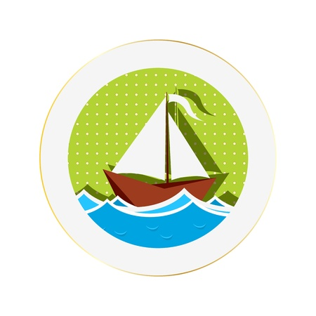 yacht club: Sailing boat sticker against white background