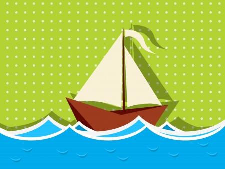波セーリング木造船の背景イラスト