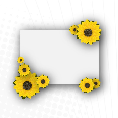 Decorative sunflowers card with room for your text  Stock Vector - 16530223