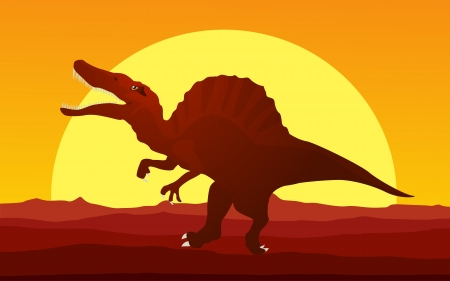 carnivorous animals: Background cartoon style drawing of a dinosaur in the susnset Illustration