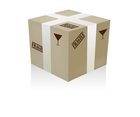 Illustration of a delivery box with warning Fragile painted on sides Stock Vector - 16530205