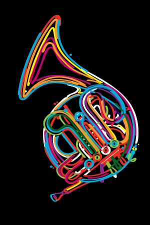 French horn instrument design in colors Vector