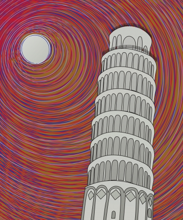 Tower of pisa in the moonlight, hand drawn graphic sketch Stock Vector - 16530219