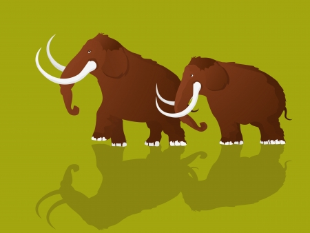 mammoth: Cartoon style drawing of two mammoths