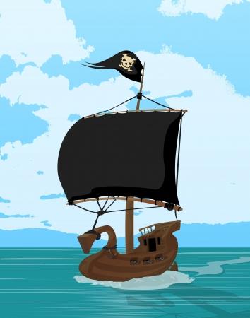 Black sails pirate ship, cartoon art illustration Stock Vector - 16530242