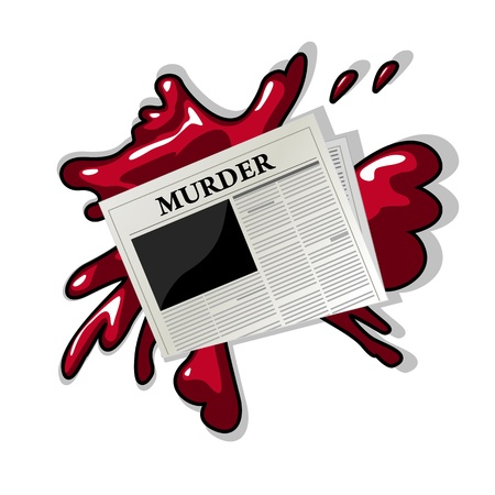 News related media icon with a newspaper showing Murder title over a blood splash  Stock Vector - 16530232